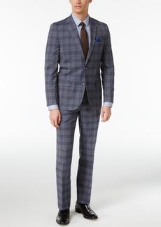 Ben Sherman Men's Slim-Fit Blue/Black Plaid Suit