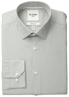 "Ben Sherman Men's Slim Fit Fineline Stripe Spread Collar Dress Shirt  16.5"" Neck 34""-35"" Sleeve"