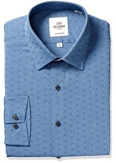 Ben Sherman Men's Slim Fit Foral Dobby Dress Shirt