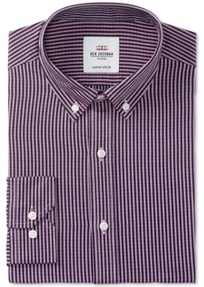 Ben Sherman Men's Slim-Fit Navy & Red Dobby Check Dress Shirt