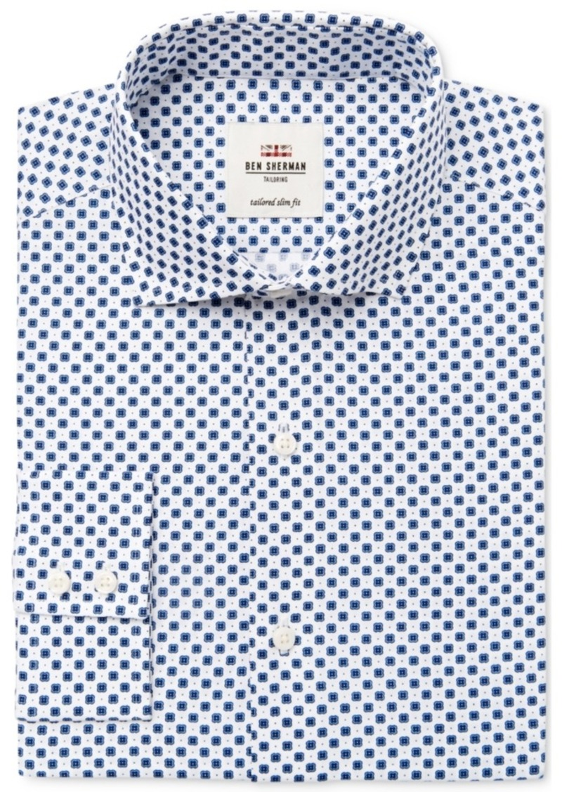 78f96df5f2e Ben Sherman Ben Sherman Men s Slim-Fit Navy Triple Dot Dress Shirt ...
