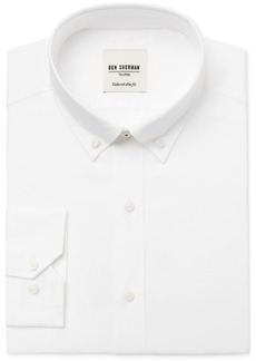 Ben Sherman Men's Slim-Fit White Solid Oxford Dress Shirt