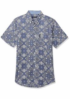 Ben Sherman Men's SS Chambray Print Shirt  L