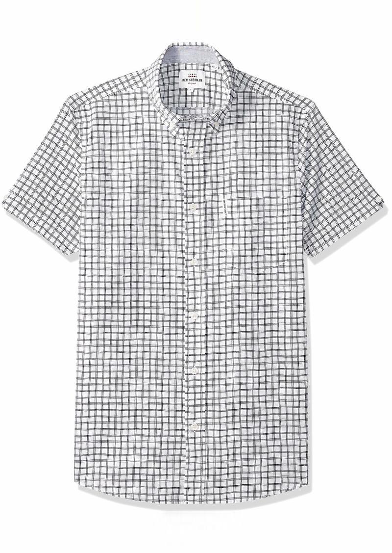Ben Sherman Men's SS Drawn Plaid PRNT Shirt  M