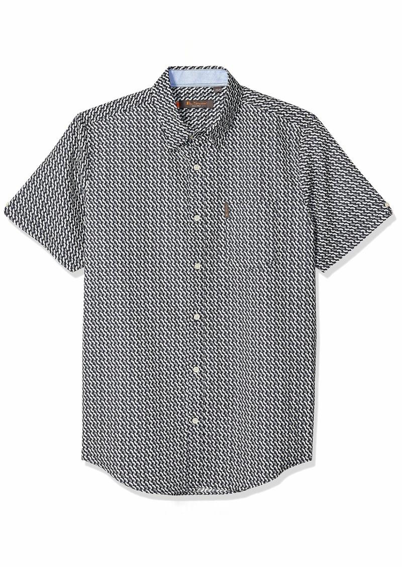 Ben Sherman Men's SS MOD Fan Print Shirt  L