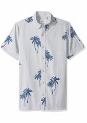 Ben Sherman Men's SS STRIPD Palm PRNT Shirt  XXL