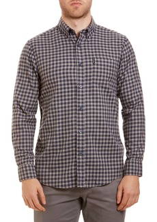 Ben Sherman Trim Fit Check Brushed Cotton Button-Down Sport Shirt