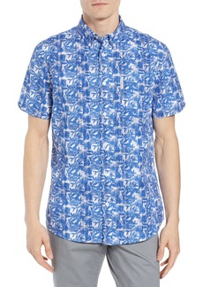 Ben Sherman Trim Fit Floral Short Sleeve Sport Shirt