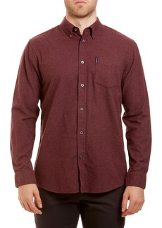 Ben Sherman Trim Fit Houndstooth Button-Down Sport Shirt