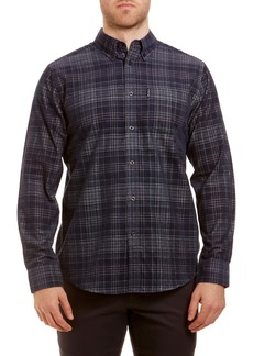 Ben Sherman Trim Fit Plaid Button-Down Corduroy Sport Shirt