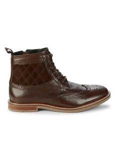 Ben Sherman Bent Wing-Tip Leather Ankle Boots