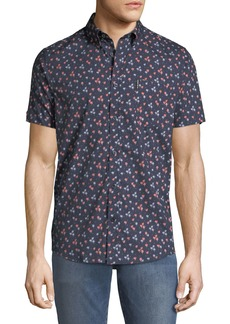 Ben Sherman Men's Palm-Tree Short-Sleeve Sport Shirt