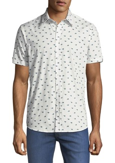 Ben Sherman Men's Peacock Feather Short-Sleeve Sport Shirt