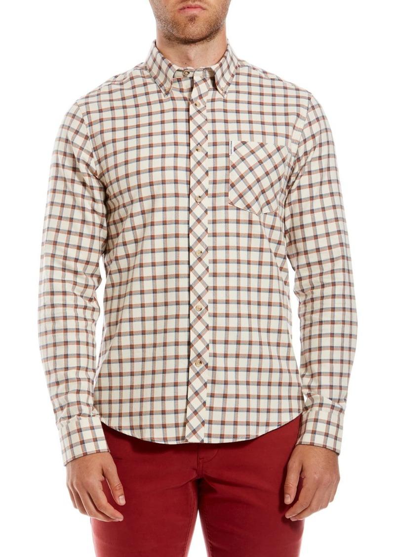 Ben Sherman Reverse Twill Check Print Trim Fit Sport Shirt