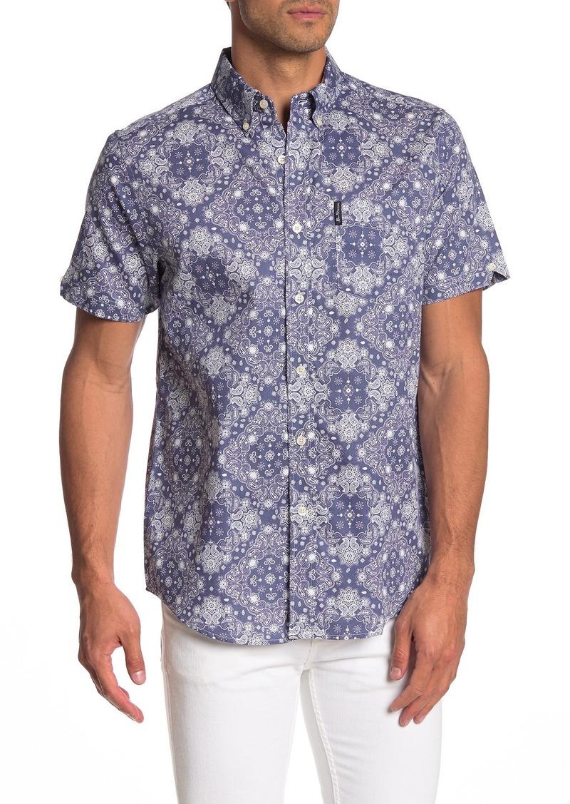 Ben Sherman Short Sleeve Chambray Print Shirt