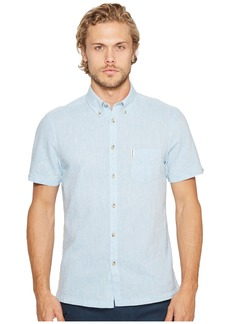 Ben Sherman Short Sleeve Mod Plain/Linen Summer Shirt