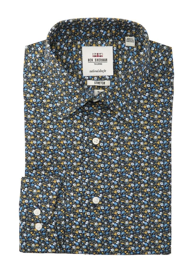 Ben Sherman Slim Fit Stretch Print Dress Shirt