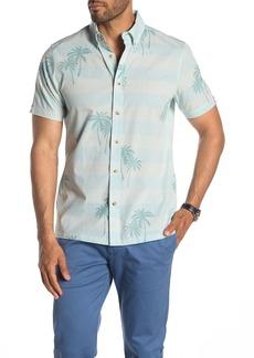 Ben Sherman Striped Palm Tree Short Sleeve Original Fit Hawaiian Shirt