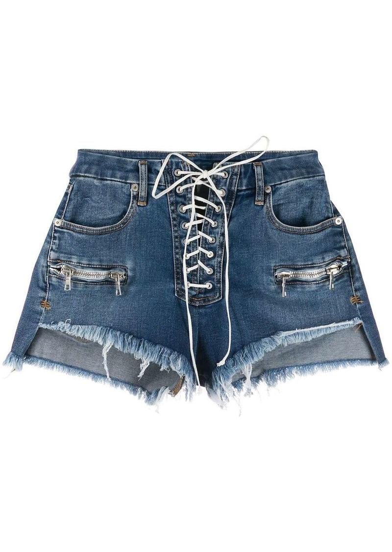 Ben Taverniti Unravel Project Vintage Chaos lace-up denim shorts
