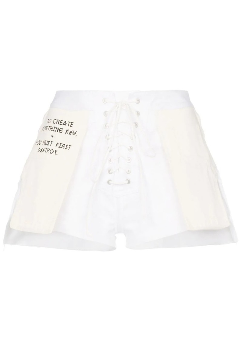 Ben Taverniti Unravel Project Slogan distressed denim shorts