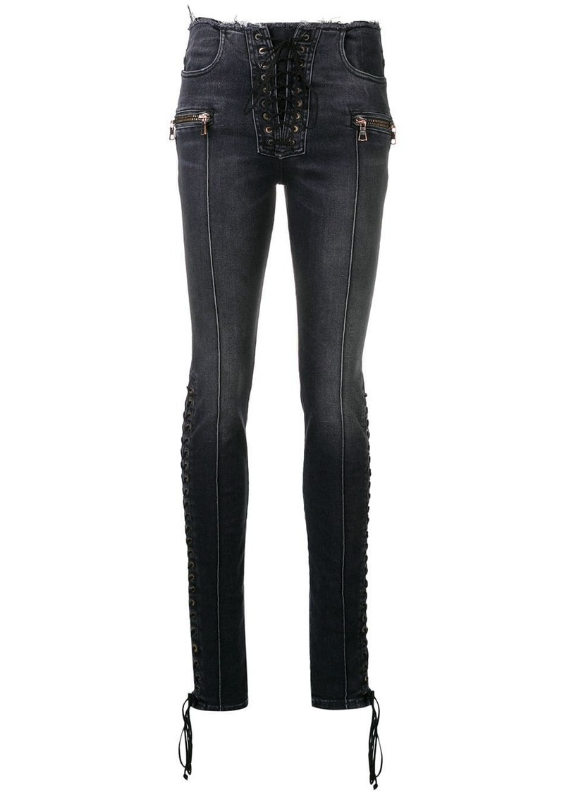 Ben Taverniti Unravel Project lace-up skinny jeans
