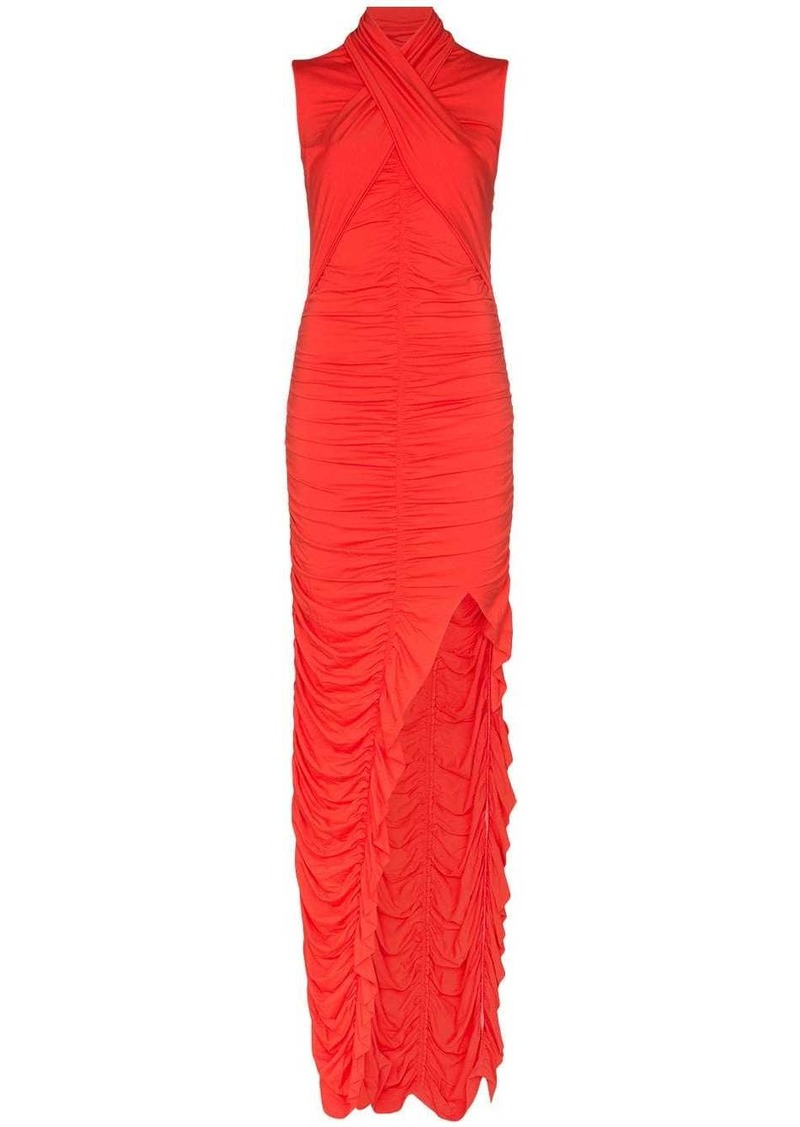 Ben Taverniti Unravel Project wrap-style ruched maxi dress