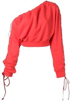 Ben Taverniti Unravel Project one-shoulder lace-up sweatshirt