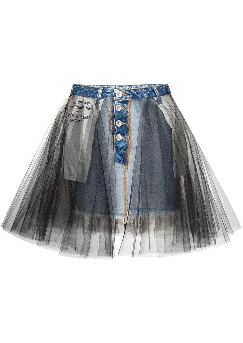 Ben Taverniti Unravel Project tulle overlay denim skirt