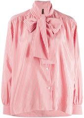 Ben Taverniti Unravel Project pussy bow striped shirt