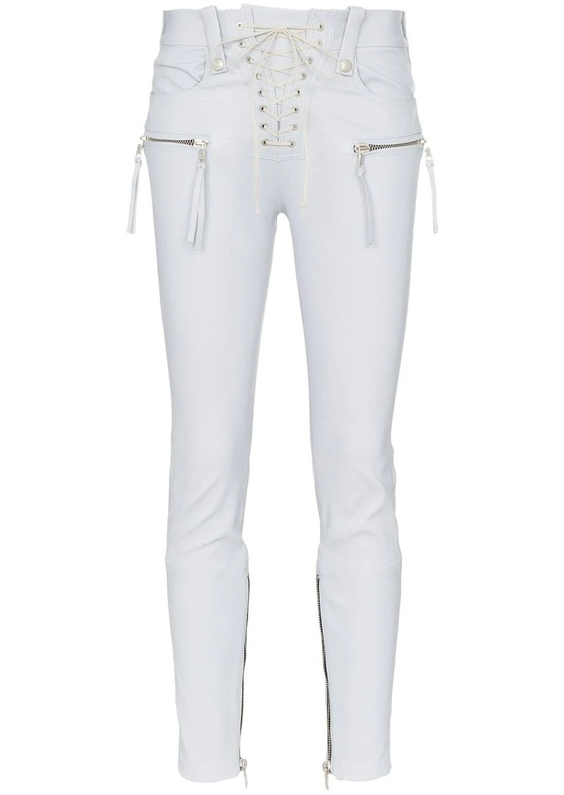 Ben Taverniti Unravel Project lace-up skinny leather trousers