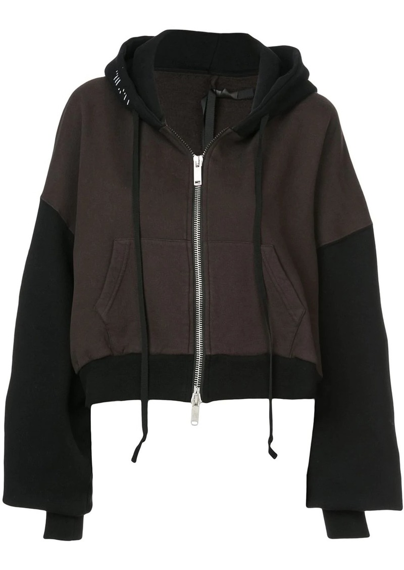 Ben Taverniti Unravel Project two-tone cropped hoodie