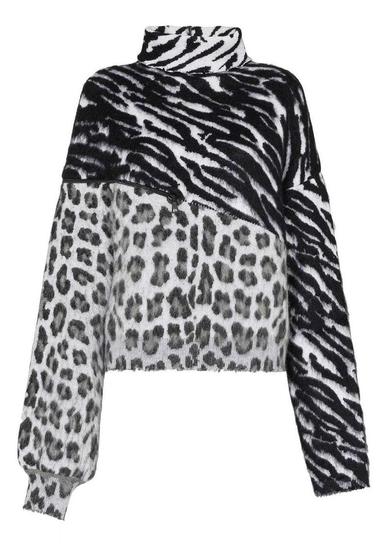 Ben Taverniti Unravel Project mixed animal print jumper