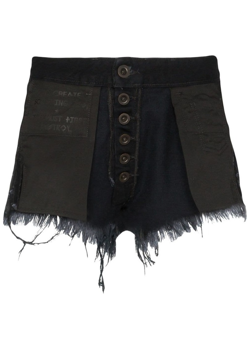 Ben Taverniti Unravel Project Reverse distressed denim shorts