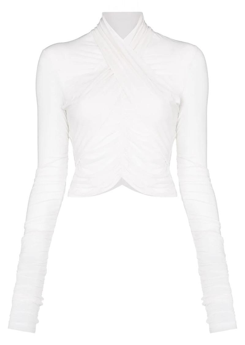 Ben Taverniti Unravel Project wrap-front sheer blouse