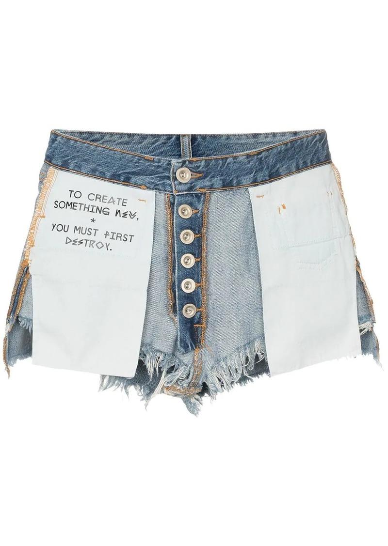 Ben Taverniti Unravel Project reverse denim cotton shorts