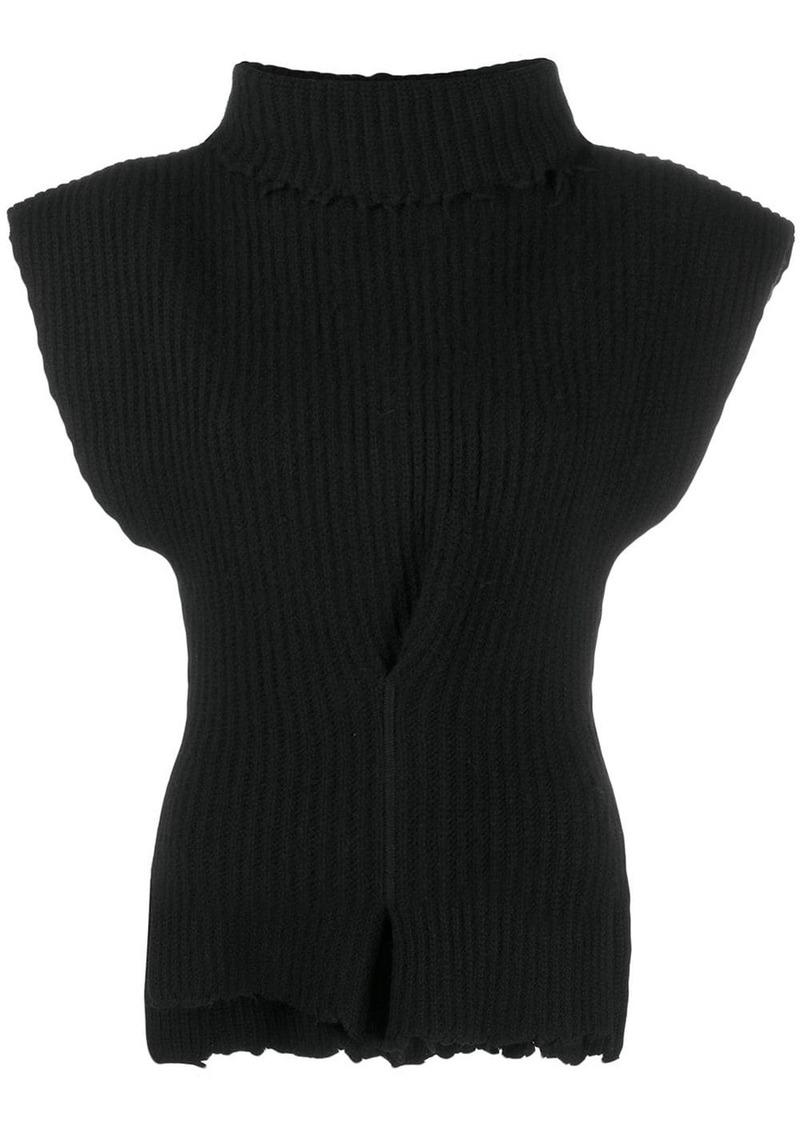 Ben Taverniti Unravel Project roll neck asymmetric knit top