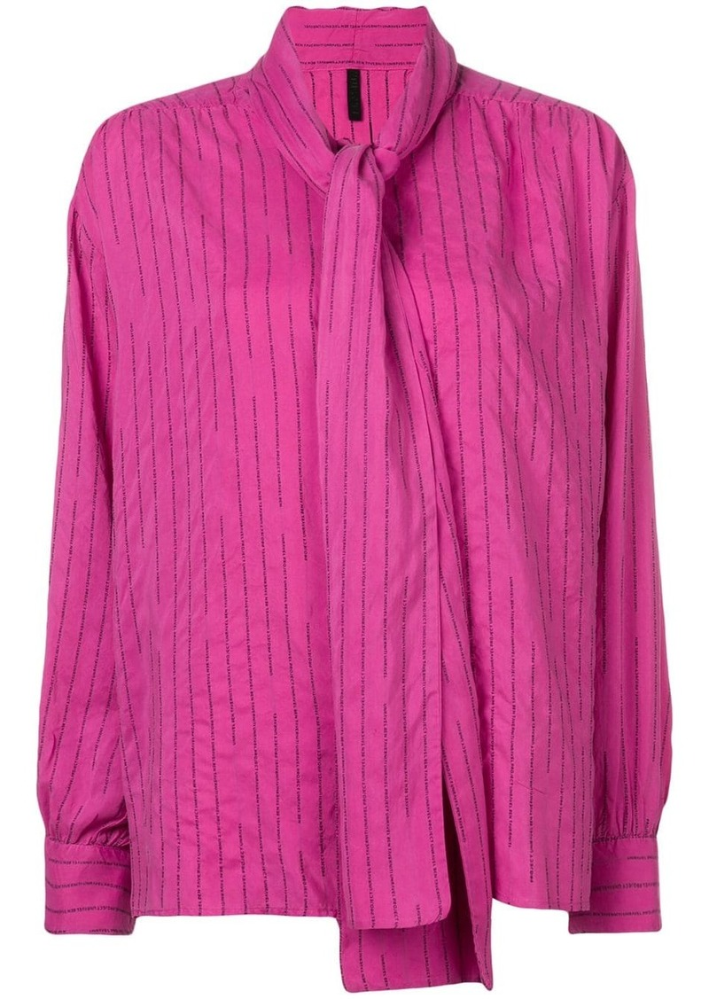 Ben Taverniti Unravel Project striped pussy bow blouse