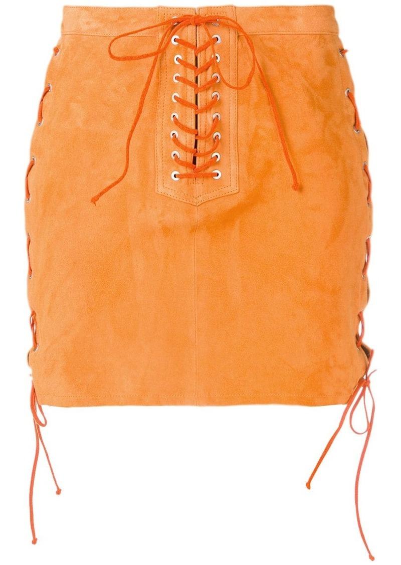 Ben Taverniti Unravel Project lace-up mini skirt