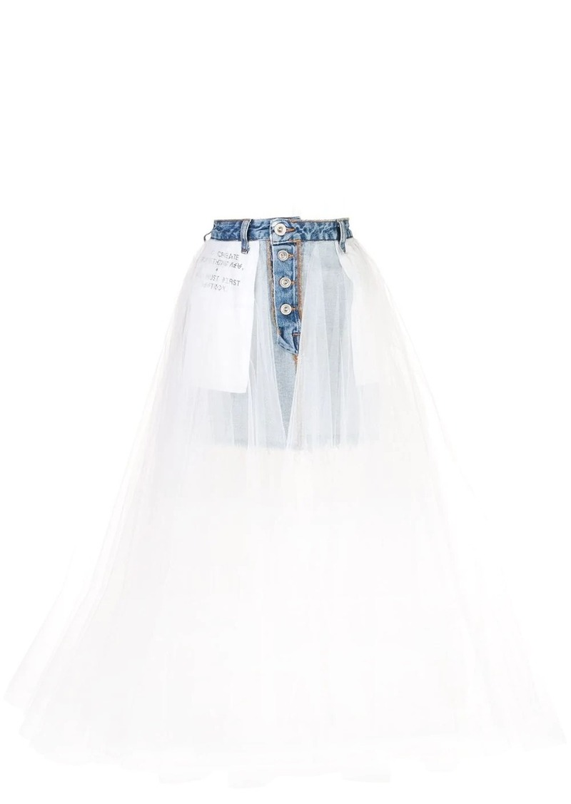 Ben Taverniti Unravel Project tulle panel denim skirt