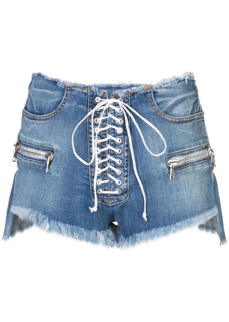 Ben Taverniti Unravel Project destroyed lace-up denim shorts
