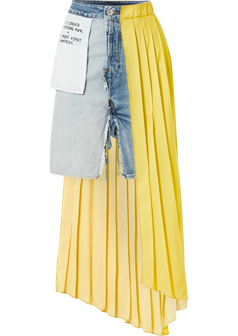 Ben Taverniti Unravel Project Asymmetric Distressed Denim And Pleated Crepe De Chine Skirt