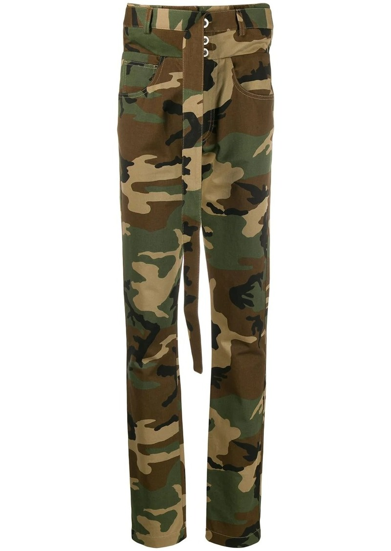 Ben Taverniti Unravel Project belted camouflage trousers