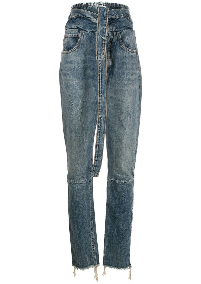 Ben Taverniti Unravel Project belted corset jeans