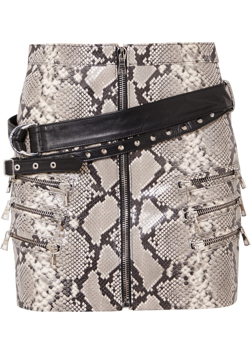 Ben Taverniti Unravel Project Belted Snake-effect Leather Mini Skirt