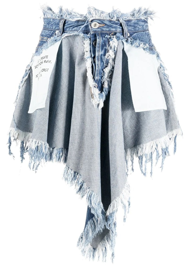 Ben Taverniti Unravel Project Chaos distressed effect denim skirt