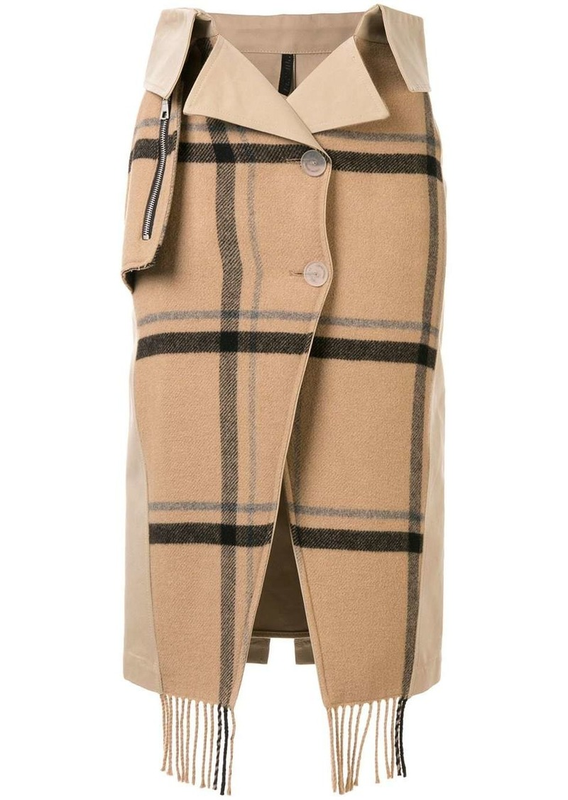 Ben Taverniti Unravel Project check scarf buttoned skirt