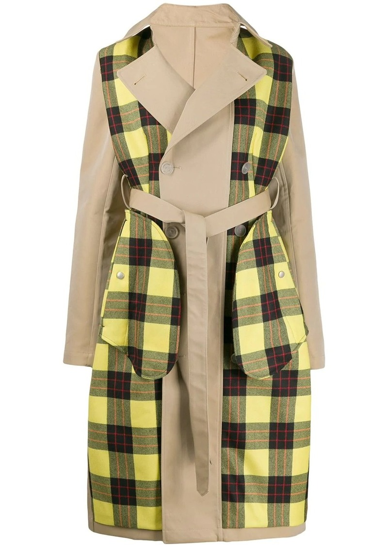 Ben Taverniti Unravel Project checked panels trench coat
