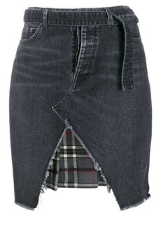 Ben Taverniti Unravel Project denim and plaid asymmetric skirt