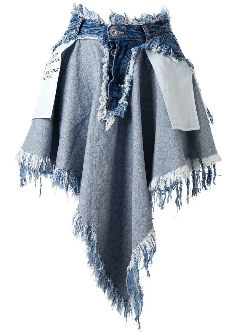Ben Taverniti Unravel Project destroyed asymmetric denim skirt