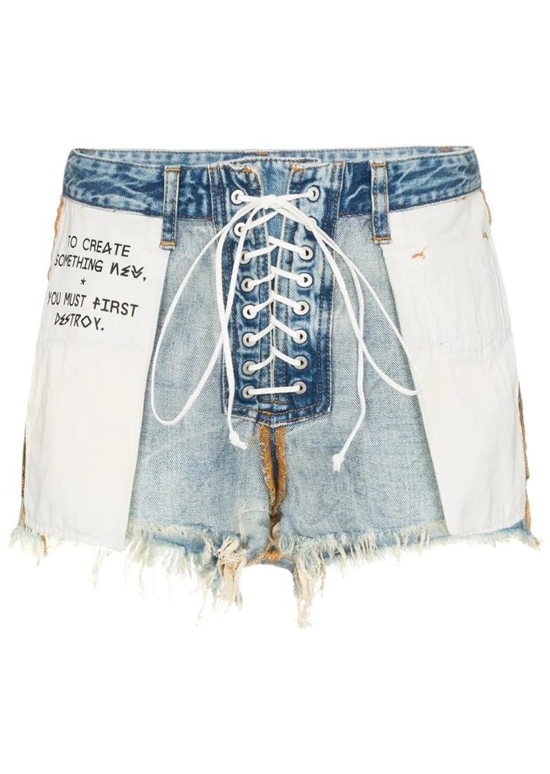 Ben Taverniti Unravel Project distressed reverse lace up denim shorts